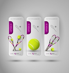 Realistic tennis objects on the gray business vector image