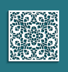 Cutout paper panel with floral lace pattern vector