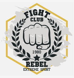 fight club sign fist with laurel wreath hand vector image