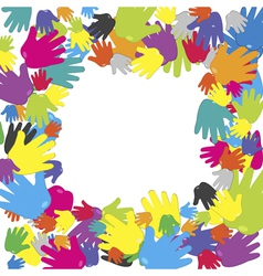 frame with colored hands vector image vector image