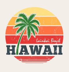 hawaii lanikai beach tee print with palm tree vector image