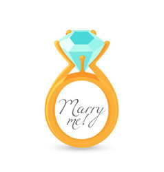 marry me sign and gold engagement ring with vector image