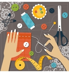 Sewing Flat vector image vector image