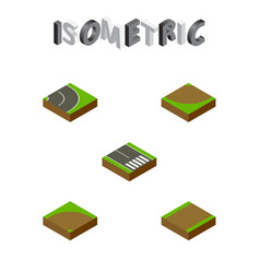 isometric road set of footpath pedestrian sand vector image vector image