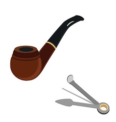 Smoking pipe and cleaning tool vector image