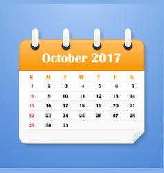 usa calendar october for 2017 vector image vector image