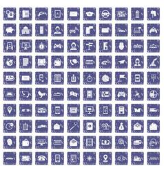 100 telephone icons set grunge sapphire vector image