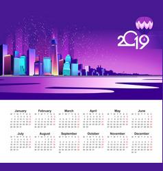 2019 calendar shanghai neon vector image