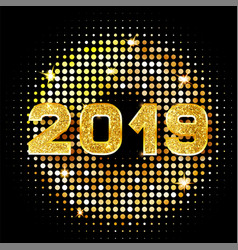 2019 golden new year sign with golden glitter on vector image
