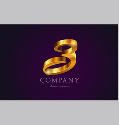 3 three gold golden number numeral digit logo vector image