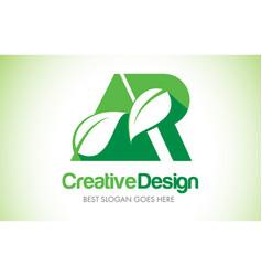 Ar green leaf letter design logo eco bio leaf vector