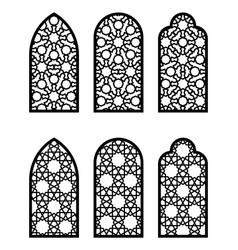 Arabesque arch window or door set cnc pattern vector