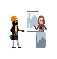 Arabic woman doing business presentation vector