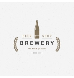 Beer bottle logo or badge design element vector image