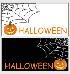 black and white halloween card with text and vector image