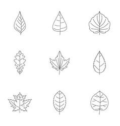 Black leaf icons set outline style vector