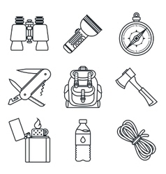 Black lineart icon set Camping equipment vector