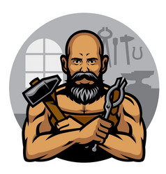 blacksmith in the workshop vector image