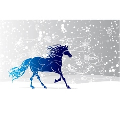 Blue horse sketch for your design Symbol of 2014 vector