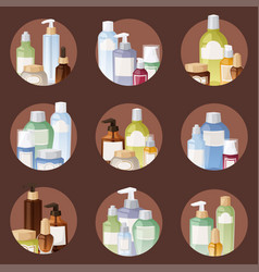 bottles cosmetic cosmetology lotion makeup vector image