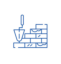 Brick laying line icon concept brick laying flat vector