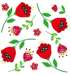bright cartoon poppies and flowers on white vector image