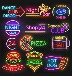 Bright roadside neon signs fast food and beer pub vector