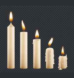 burning candle stages combustion wax vector image