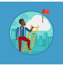 Businessman climbing the ladder vector