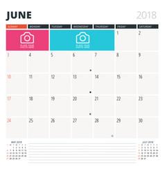 calendar planner for june 2018 design template vector image