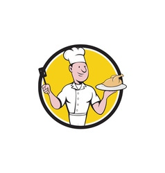 Chef Cook Roast Chicken Spatula Circle Cartoon vector