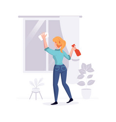 cleaning professional staff cleans house vector image