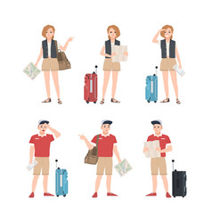 Collection of male and female travelers with map vector
