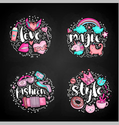 colored set of teenage girl icon concept cute vector image
