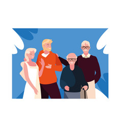 Couple people and grandfathers standing vector