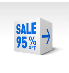 cube banner template ninety-five percent off vector image