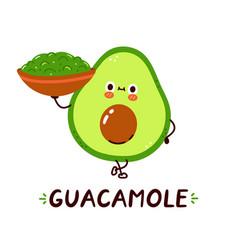 Cute happy avocado hold guacamole sauce bowl vector