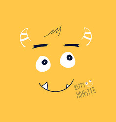 Cute monster print design with slogan vector
