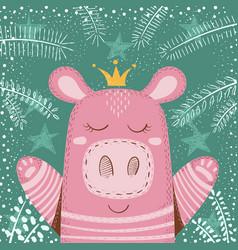 cute winter pig - children vector image