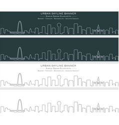 Dallas single line skyline banner vector