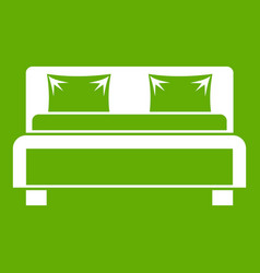 Double bed icon green vector