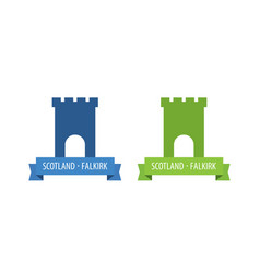Emblem with tower of european medieval castle with vector