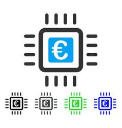 Euro processor flat icon vector