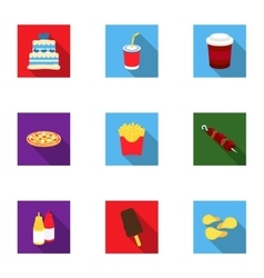 Fast food set icons in flat style Big collection vector