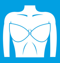 female breast in a bra icon white vector image