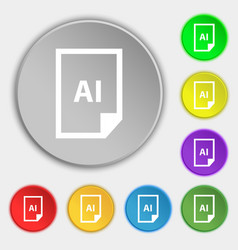 File ai icon sign symbol on eight flat buttons vector