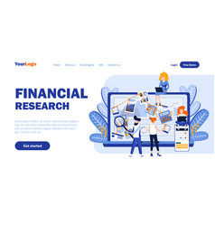 financial research flat landing page template vector image