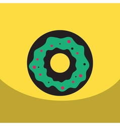 Flat icon design collection donut with cream vector