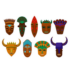 flat set of ethnic wooden masks ritual vector image