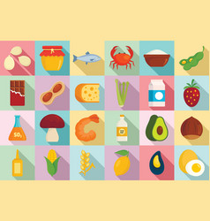food allergy icons set flat style vector image